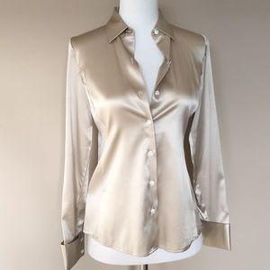 Ann Taylor Petite 0P Silk Long Sleeve Dress Shirt